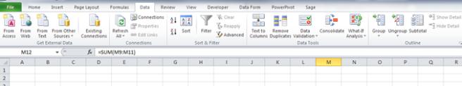 Excel Data Ribbon