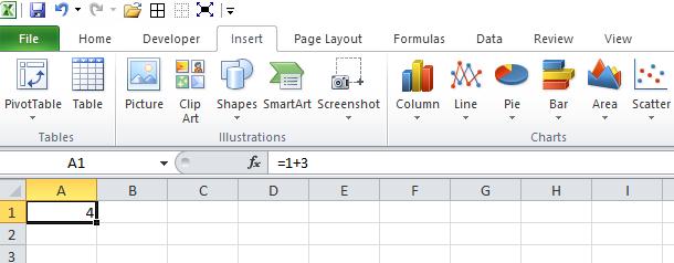 Excel Insert Ribbon